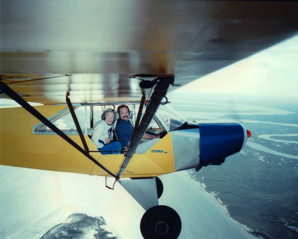 Brian Lansburgh and Jessie Woods in Piper Cub